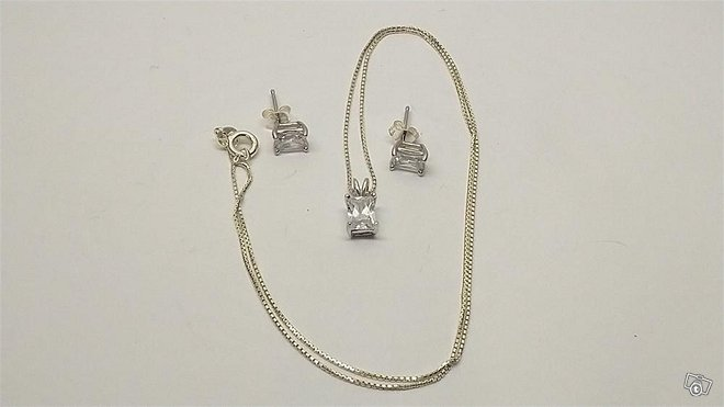 Korvakorut ja kaulakoru zirkoneilla, hopea 925