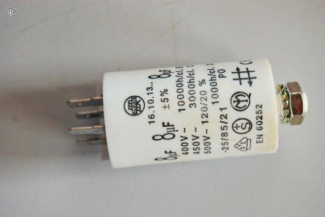 Kondensaattori 8µF +-5% 16.10.13. 400VAC cl.B