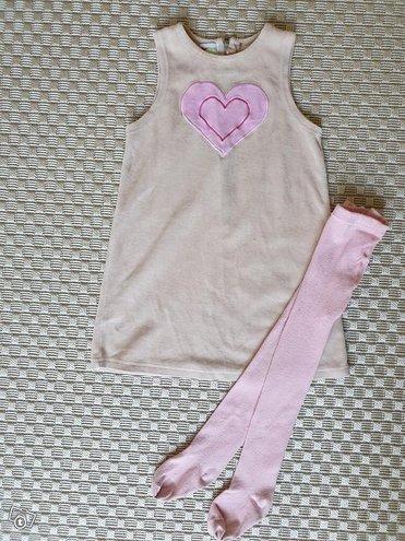Sydänmekko ja sukkahousut koko 98cm