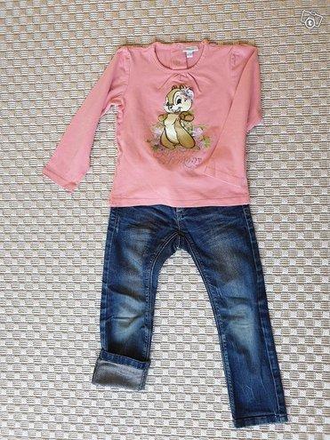 Disney paita 98cm sekä farkut 98-104cm