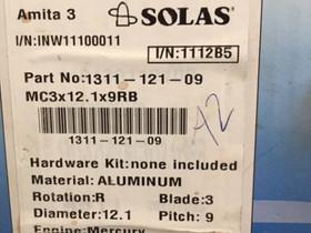 """Solas Amita 3 Potkuri MERCURY 12.1 X 9"""", Veneen varusteet ja varaosat, Venetarvikkeet ja veneily, Hämeenlinna, Tori.fi"""
