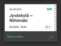 Opiskelijalippu 27.9 klo 18.10 Jyväskylä-Riihimäki