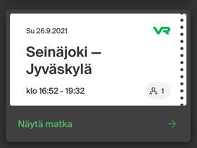 Junalippu SJK-JKL SU 26.9, Matkat, risteilyt ja lentoliput, Matkat ja liput, Jyväskylä, Tori.fi