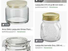 Kannellisia lasipurkkeja, Säilytysastiat ja rasiat, Keittiötarvikkeet ja astiat, Jyväskylä, Tori.fi