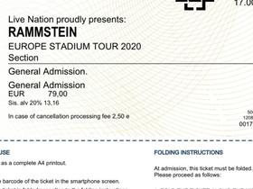 Rammstein 20.7.2022 Tallinna, 2 lippua, Keikat, konsertit ja tapahtumat, Matkat ja liput, Kotka, Tori.fi