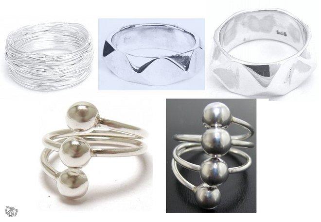Naisten moderneja hopeasormuksia