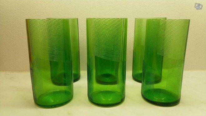 Riihimäen Lasi, vihreät NINA juomalasit 6 kpl