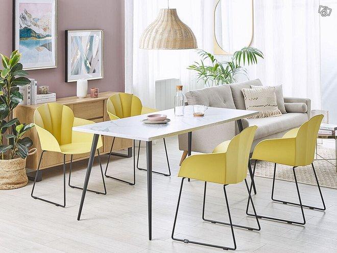 2 kappaletta ruokapöydän tuoleja keltainen SYLVA