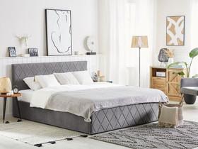 Pärisänky harmaa sametti 180 x 200 cm ROCHEFORT, Sängyt ja makuuhuone, Sisustus ja huonekalut, Tuusula, Tori.fi