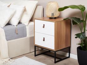Yöpöytä 2 laatikolla vaalea puu/valkoinen NUEVA, Hyllyt ja säilytys, Sisustus ja huonekalut, Tuusula, Tori.fi