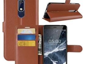 Nokia 5.1 (2018) Lompakkokotelo Ruskea, Puhelintarvikkeet, Puhelimet ja tarvikkeet, Pori, Tori.fi