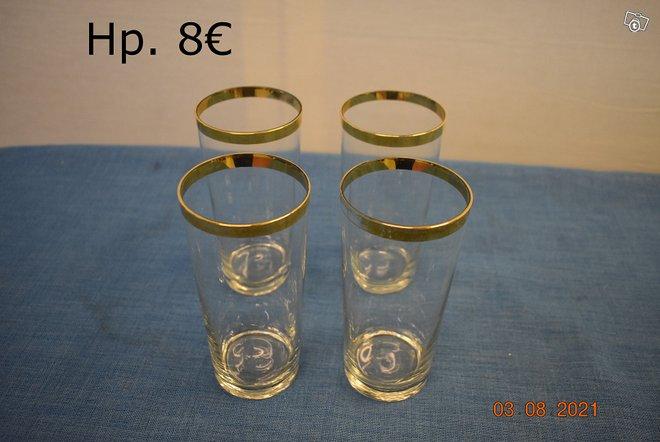 (E)21755 Kultareunaiset juomalasit 4 kpl