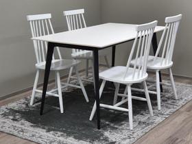 STONE pöytä 140x80cm + 4 pinnatuolia valkoisia, Pöydät ja tuolit, Sisustus ja huonekalut, Hanko, Tori.fi