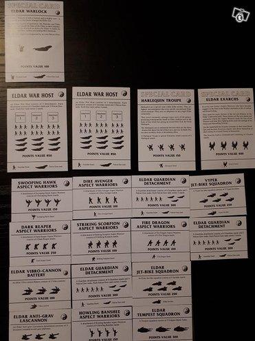 Wh40k Eldar ja orc squad kortteja