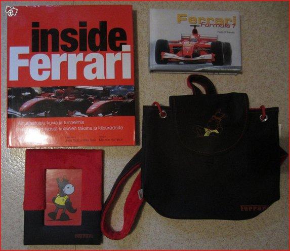 Ferrari setti - kirjoja, reppu yms