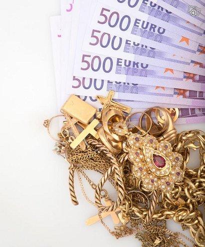 Kulta rahaksi ja hopea rahaksi. Korut, kellot,yms
