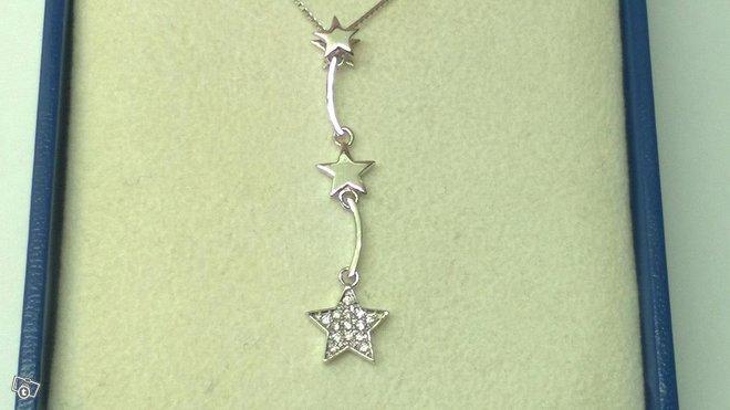 14 karaatin valkokulta tähti timanttiriipus, 585
