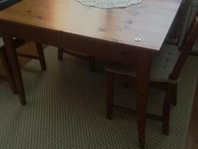 Ruoka pöytä jatkolla ja neljä tuolia, Pöydät ja tuolit, Sisustus ja huonekalut, Raasepori, Tori.fi
