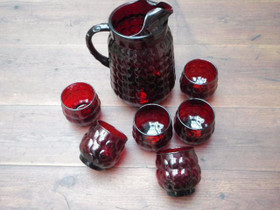 Anchor hocking ruby red bubble glass. vintage, Astiat, Keräily, Turku, Tori.fi