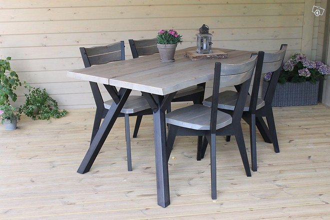 Lana ruokapöytä 150x88cm + 4 lankkutuolia -35%ALE
