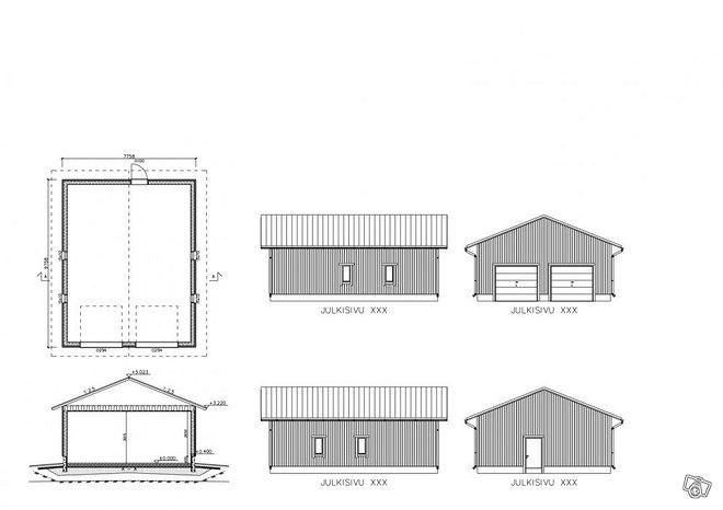 Autotalli 75 m2 (elementti) ALENNUS
