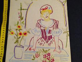 Vanha kirjailtu naisen kuva 40 x 27 cm puuvilla ka, Muu keräily, Keräily, Kannus, Tori.fi