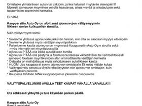 Välitysmyyntipalvelu ajoneuvoille, Autot, Isokyrö, Tori.fi