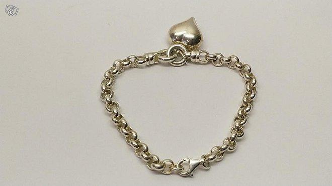 Hopeinen papuranneketju roikkuva sydän, hopea 925
