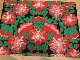Puna-vihreä kukkakangas n.1,25 x 1,8 m, Käsityöt, Hattula, Tori.fi