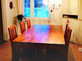 Ruskea 6-hengen ruokapöytä 90x170 (+ tuolit), Pöydät ja tuolit, Sisustus ja huonekalut, Sipoo, Tori.fi